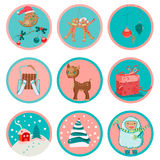 Cute Christmas icons Stock Image