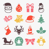 Cute christmas icons. Set. Color Stock Images