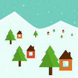 Cute Christmas illustration of houses and trees in the snow Stock Image