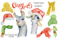 Cute Christmas lama watercolor creator Winter illustration with decorations alpaca. Cute Christmas unicorns watercolor creator Winter illustration with royalty free illustration