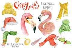 Cute Christmas flamingo watercolor creator Winter illustration with decorations. Cute Christmas lama watercolor creator Winter illustration with decorations vector illustration