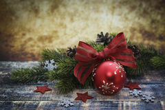 Cute Christmas little ball with red ribbon Stock Images