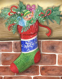 Cute Santas little elf in a stocking. Cute Christmas elf in decorated stocking hung on the wall. Hand made watercolor Stock Photography
