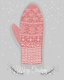Cute christmas mitten with hearts a Stock Image