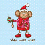 Cute christmas monkey Royalty Free Stock Images