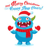 Cute Christmas Monster Vector Card. Holiday Cartoon Mascot. Merry Christmas, Happy New Year. Stock Photo