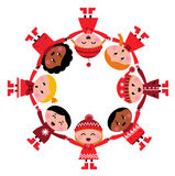 Cute christmas multicultural children in circle. Happy smiling winter kids in circle. Vector cartoon Illustration Stock Photos