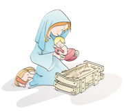 Cute Christmas nativity. Virgin mary with baby Jesus in a manger vector illustration