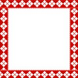 Cute Christmas or new year frame with red and white diamond. Pattern. Vector illustration, border, template with copy space for design royalty free illustration