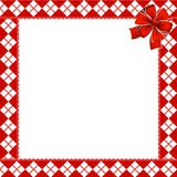 Cute Christmas or new year frame with red and white diamond. Pattern decorated with red ribbon in the corner. Vector illustration, border, template with copy royalty free illustration