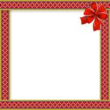 Cute christmas or new year frame with rhombus pattern, red bow. In the corner and space for text. Vector illustration, template, border for design Royalty Free Stock Images