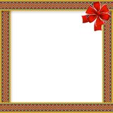 Cute christmas or new year frame withzig zag pattern and red. Cute christmas or new year frame with red, green, yellow zig zag pattern, red festive bow in the Royalty Free Stock Photography