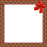 Cute christmas or new year frame with zig zag pattern and red. Cute christmas or new year frame with red, green, yellow zig zag pattern, red festive bow in the Royalty Free Stock Photos