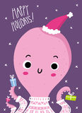 Cute Christmas and New Year greeting card design with funny octo Stock Image