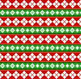Cute Christmas or new year pattern with diamond rhombus on red a. Nd green striped background. Vector illustration, banner, template for design stock illustration