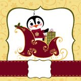 Cute christmas new Year postcard template Stock Image