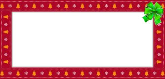 Cute Christmas or new year red rectangle banner, border, frame with copy space stock illustration