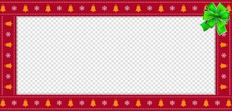 Cute Christmas or new year red rectangle billboard, border, frame with copy space. Cute Christmas or new year red rectangle banner, border, frame with bells and stock illustration