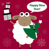 Cute Christmas, New Year's sheep. Vector illustration Royalty Free Stock Photo