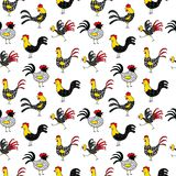 Cute Christmas and New Year seamless pattern. Symbol of 2017 year. Rooster.  Royalty Free Stock Photography