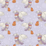 Cute Christmas owl seamless pattern Royalty Free Stock Photo