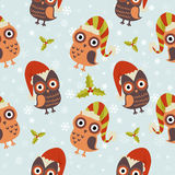 Cute Christmas owl seamless pattern Royalty Free Stock Photos