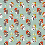 Cute Christmas owl seamless pattern Royalty Free Stock Images