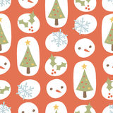 Cute Christmas Pattern Retro Red Stock Image