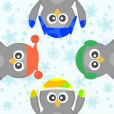 Cute Christmas Penguin Celebrating Snow Vector Royalty Free Stock Photography
