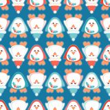 Cute Christmas penguin seamless vector pattern with Santa`s hat and mistletoe. This seamless vector pattern features a Christmas theme with cute aqua and pink vector illustration