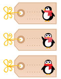 Cute christmas Penguin tags. Retro christmas tags with Penguins. Vector cartoon Illustration Royalty Free Stock Images