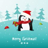 Cute Christmas penguin. Vector background. Stock Photo