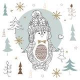 Cute christmas penguin zen art doodle Royalty Free Stock Photography