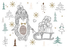 Cute christmas penguin zen art doodle. Cute christmas cartoon penguin in hat zen art doodle.Vector illustration ready for adult anti stress coloring book or Royalty Free Stock Photography