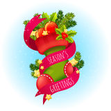 Cute Christmas postcard with xmas stocking Stock Images