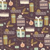 Seamless Pattern with Gift Boxes. Stock Image
