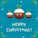 Cute Christmas Puddings Wishing a Merry Christmas. Assets separated into individual layers royalty free illustration