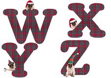 Cute Christmas pug puppy dog alphabet letters W X Y Z Stock Images