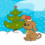 Cute Christmas puppy, snow and tree.  Royalty Free Stock Photo