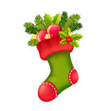 Cute Christmas realistic stocking full of presents isolated Stock Photography