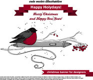 Cute christmas with red bird and pen for graphics tablet Royalty Free Stock Photography