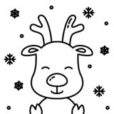 Cute christmas reindeer black outline with snow simple illustration stock photo