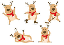 Cute christmas reindeer  illustration icon set Stock Photo