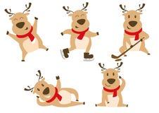 Cute christmas reindeer illustration icon set. Set of reindeer illustration in many pose, such as skating, sleeping, saluting reindeer stock illustration