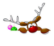 Cute Christmas reindeer Rudolf Stock Photos