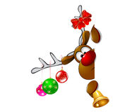 Cute Christmas reindeer Rudolph 2. Cartoon reindeer on greeting cards with Christmas Stock Image