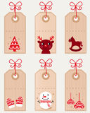 Cute christmas retro tags collection Stock Photo