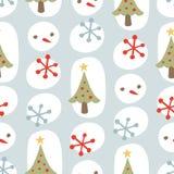 Cute Christmas Seamless Background Pattern Blue Stock Photo