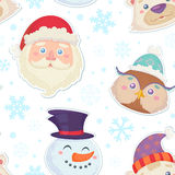 Cute Christmas seamless pattern with characters Royalty Free Stock Images