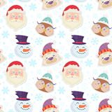 Cute Christmas seamless pattern with characters Stock Photo